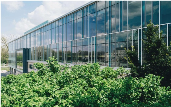 Glass building with green plants placed in front.